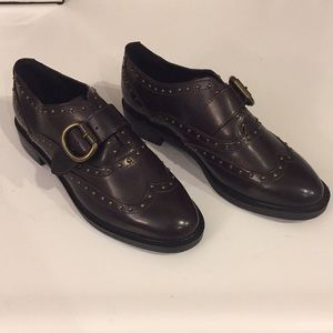 Marc Fisher Bryleigh brown/oxblood loafers, Sz 7